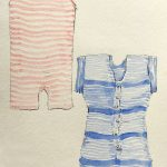 Painted swim costumes in pink stripe, another in blue stripe