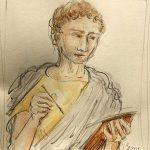 A sketch portrait of a Roman man holding pen and tablet to write