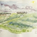 Loose watery colour sketch of grass covered mounds