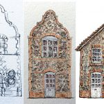 3 sketches of a flint house in pencil and earth colours