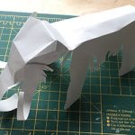 Mammoth cut-out and folded from grey card