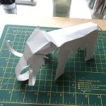 Mammoth cut-out and folded from an A4 grey paper sheet