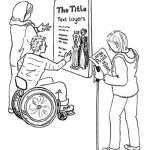 Black line drawing of visitors pictured using a choice of clear, large print text panel and hand-held interpretation for a vase display.