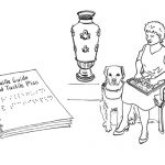 Pen sketch of a spiral bound Braille guide and tactile plan. A lady sits by a decorative vase display reading the Braille guide. Her guide dog sits alongside her.