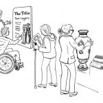 Black line drawing of visitors pictured using a choice of text panel, large print, audio and tactile interpretation for a vase display.